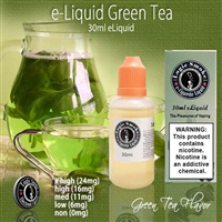 Enjoy the satisfying, soothing, all natural flavor of our Green Tea flavored electronic cigarette e-liquid.