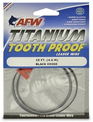 AFW TOOTH PROOF TITANIUM LEADER - SINGLE STRAND WIRE - 15 FEET - ALL TESTS