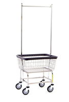 R&B 100E58 Stardard Laundry Cart w/Double Pole Rack