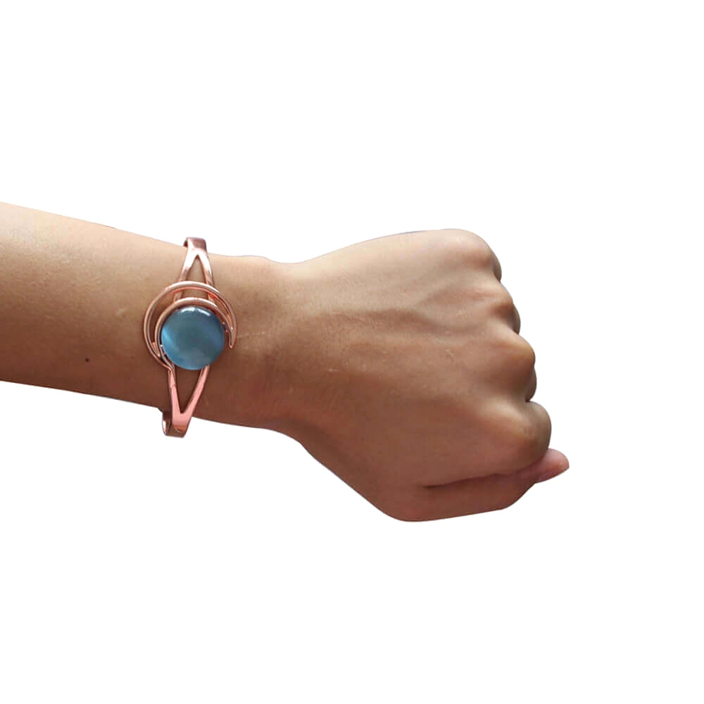 Cats Eye Stone Women's Magnetic Copper Bracelet Sapphire