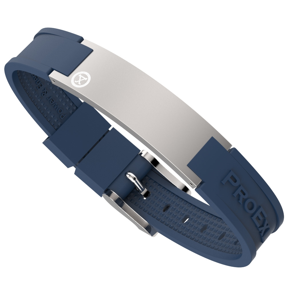 Ultimate Brushed Steel Magnetic Bracelet with Blue Strap