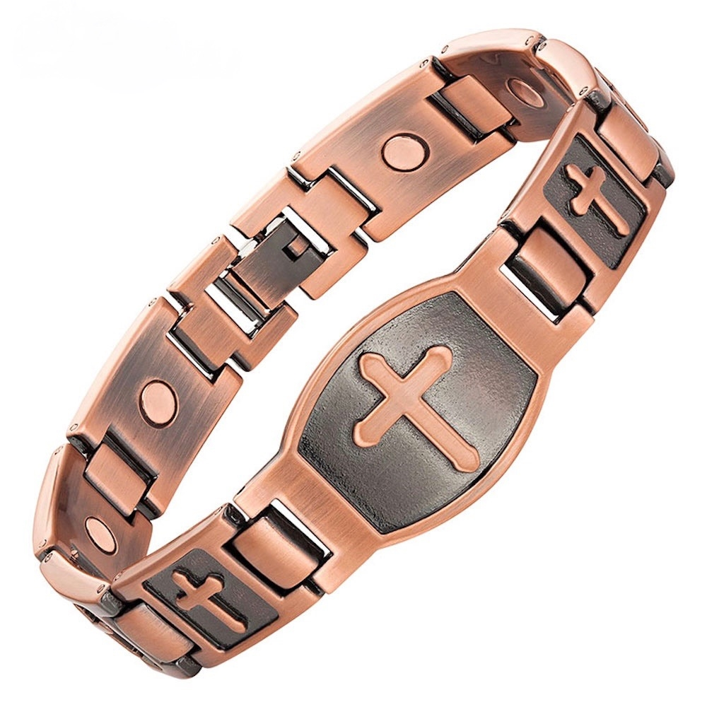 Large Christian Cross Copper Magnetic Bracelet