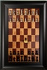"2.5"" Black Alumium chess pieces on Red Cherry board with Wide Scoop frame"