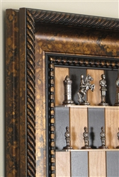 Camelot Chess Pieces by Italfama on a Black Cherry board with Black Gold frame