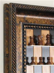 "2.5"" Jaques Golden Rosewood chess pieces, on Black Cherry board with Black Gold Frame"