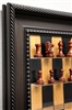 "3"" Padauk Chess Pieces on Black Cherry board with Traditional Brown Frame"