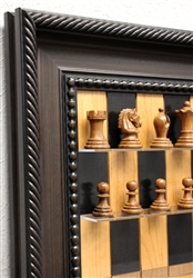 "3"" Midget Golden Rosewood Chess Pieces Black Cherry Board with Traditional Brown Frame"