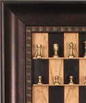 Small Brass Chess Pieces by Italfama on Black Cherry board with Checkered Bronze frame