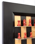 "Black Cherry Board with Flat Black frame and 2.5"" Red Chess pieces"