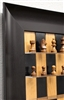 Black Cherry Board with German Knight Chess Pieces and Wide Scoop frame