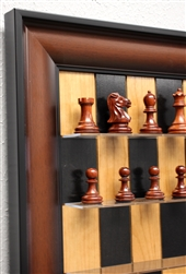 "3"" Padauk wood Chess pieces on Black Cherry Chess Board with Red Accent frame"