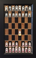 Black Walnut Board with Flat Black Frame and original Block Chess Pieces