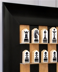 Black Cherry Board with Wide Scoop Frame and original Block Chess Pieces