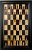 "3"" Golden Rosewood Supreme Chess Pieces on Beetle Kill board with Black Contemporary Frame"