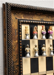 "3"" Colored Medieval Chess Pieces on Black Maple board with Black Gold Frame"
