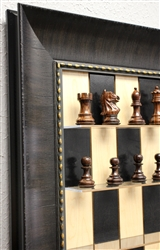 "3"" Rosewood Supreme Chess Pieces on Black Maple board with Rugged Expresso Frame"