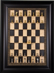 "2"" Metal Chess Pieces (Italfama) on Black Maple Board with Dark Bronze Frame"