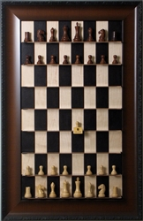 "3"" Empire Chess Pieces on Black Maple board with Walnut Grain frame"