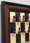 "3"" Rosewood Supreme Chess Pieces on Black Maple Board with Red Accent frame"