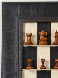 "3"" Padauk Chess Pieces on Black Maple with Rustic Brown Frame"