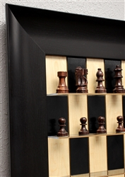 "3"" French Rosewood Chess Pieces on Black Maple board with Wide Scoop Frame"