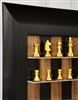 "2.5"" Polished Aluminum chess pieces on Black Walnut board with Wide Scoop frame"