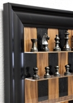 "3"" Black Walnut Board with Black Contemporary Frame and Metal Chess pieces"