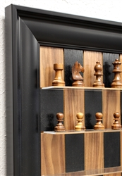"3"" Golden Rosewood, German Knight Chess Pieces on Black Walnut board with Black Contemperary Frame"