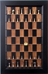 Modern Brass Chess pieces on Black Walnut Board with Flat Black frame