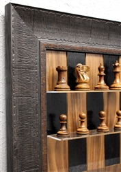 "3"" Old English Chess Pieces on Black Walnut board with Rustic Brown Frame"