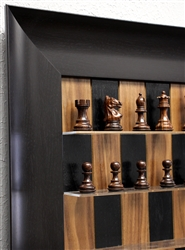 Black Walnut Board with Wide frame and Supreme Rosewood Chess Pieces