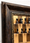 "3"" Murphy Chess Pieces on Cherry Bean Board with Antique Bronze frame"
