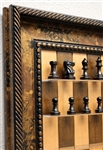 "3"" Murphy Chess Pieces on Cherry Bean board with Black Gold frame"