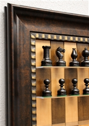 "3"" Dwarf chess pieces on Cherry Bean Board with Checkered Bronze Frame"