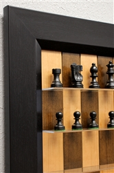 "3"" Basic Chess Pieces on Cherry Bean board with Flat Black Frame"
