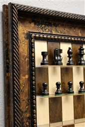 "3"" Basic Chess Pieces on Maple Nut board with Black Gold frame"