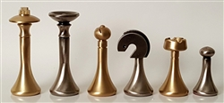 "3""  Modern Brass and Stainless Chess Pieces (Italfama)"