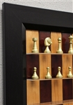 "3"" Italfama Chess pieces on Red Cherry board with Flat Black Frame"
