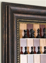 "3"" Bridle Chess Pieces on Red Cherry board with Antique Bronze frame"