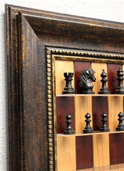 "3"" Camelin Chess Pieces on Red Cherry Board with Antique Bronze frame"