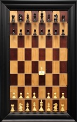 "3"" Supreme Chess Pieces on Red Cherry Board with Black Contemporary frame"