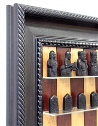 "3"" Hand Carved Isle of Lewis Chess Pieces on Red Cherry Board with Traditional Brown Frame"