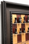 Red Cherry Board with Traditional Brown Frame and Murphy Chess Pieces