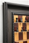"2.5"" Ebony Royal chess pieces, Red Cherry board with Traditional Brown Frame"