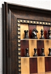 "3"" Derby chess pieces on Red Cherry Board with Checkered Bronze Frame"