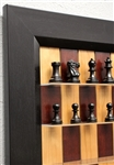 "3"" Stallion chess pieces on Red Cherry Series with Flat Black Frame"
