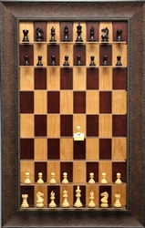 "3"" Supreme Chess Pieces on Red Cherry Board with Leather Look  frame"