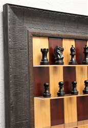 "3"" Supreme Chess Pieces on Red Cherry Board with Rustic Brown Frame"