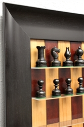 "3"" Dwarf Chess Pieces on Red Cherry board with Wide Scoop Frame"