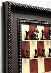 "3"" Durby Chess Pieces on Red Maple Board with Traditional Brown Frame"